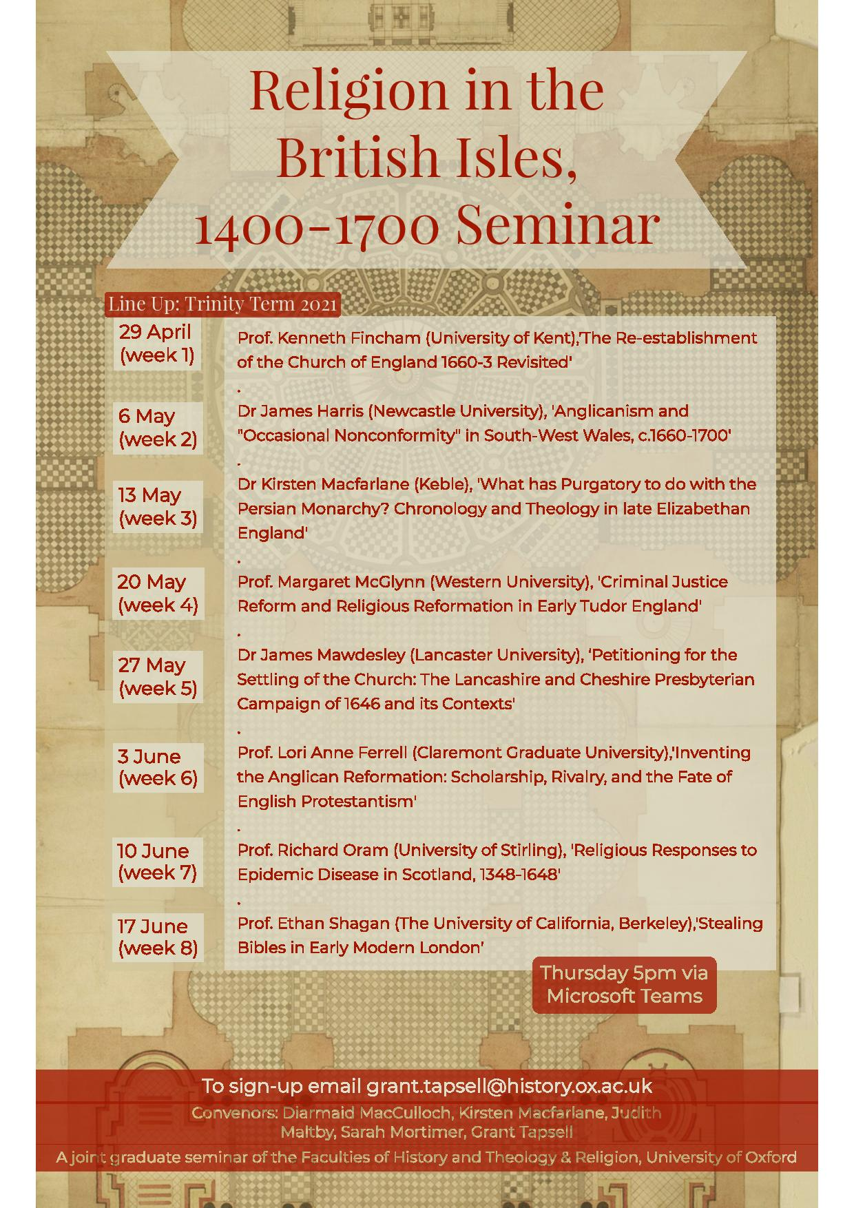 religion in the british isles 1400 1700 seminar